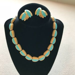 Vintage Gold/  Aqua Blue Choker with clip ons